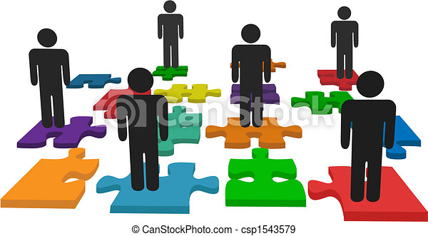 Symbol people team stand on jigsaw puzzle pieces - csp1543579