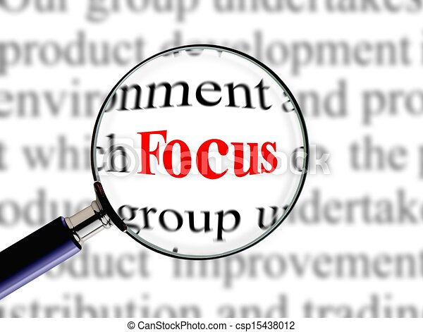 Clipart of Magnifying on word focus - Magnifying on word ...