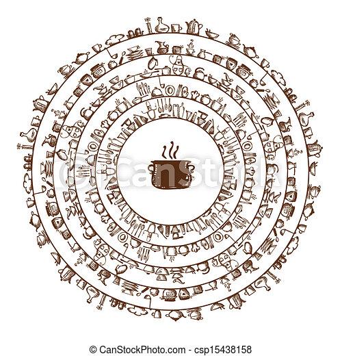 Clipart vectorial de bosquejo marco utensilios su for Utensilios de cocina logo