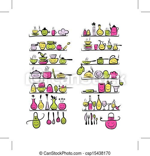 Illustrations Vectoris Es De Croquis Tag Res Dessin Ustensiles Conception Csp15438170