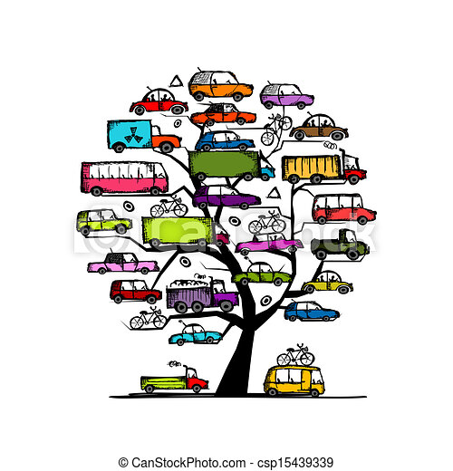 Tree with cars, transportation concept for your design - csp15439339