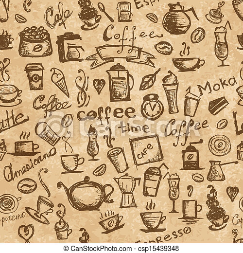 Coffee time, seamless background grunge for your design - csp15439348