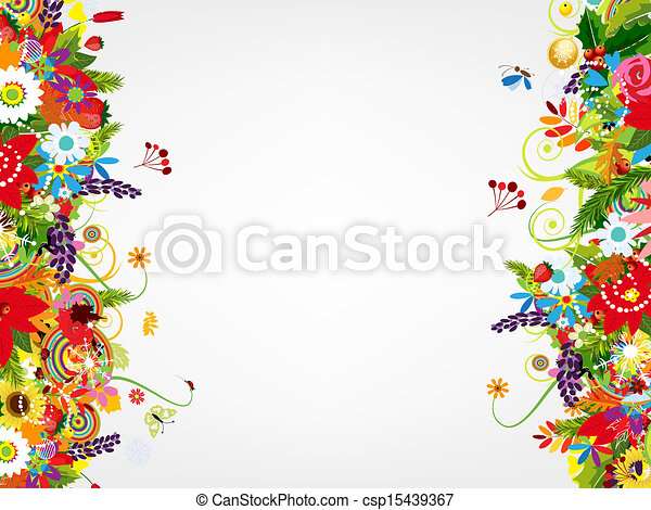 Floral postcard design with place for your text - csp15439367