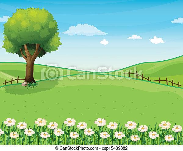 Vector de cumbre gigante rbol jard n ilustraci n de for Jardin dibujo