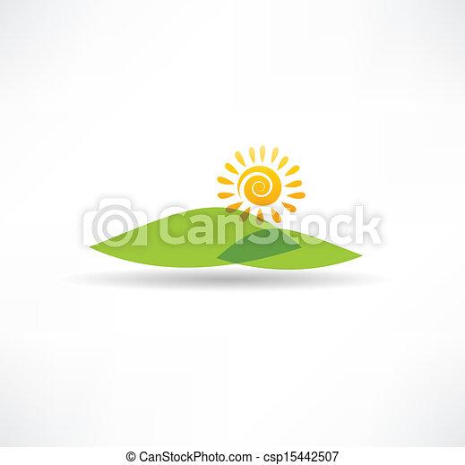 Sun and  mountains icon - csp15442507