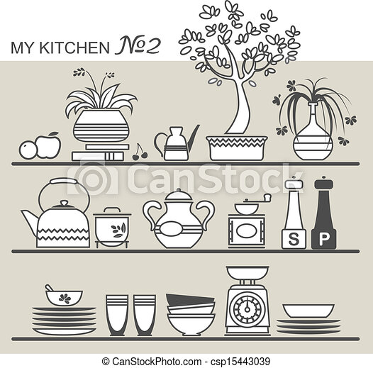 Kitchen Utensils Drawings Kitchen Utensils on Shelves 2