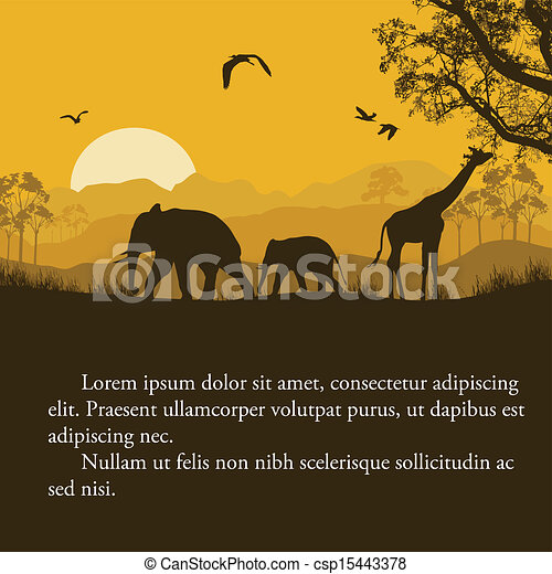 Vectors Illustration Of Wild African Animals Silhouettes Poster Csp15443378