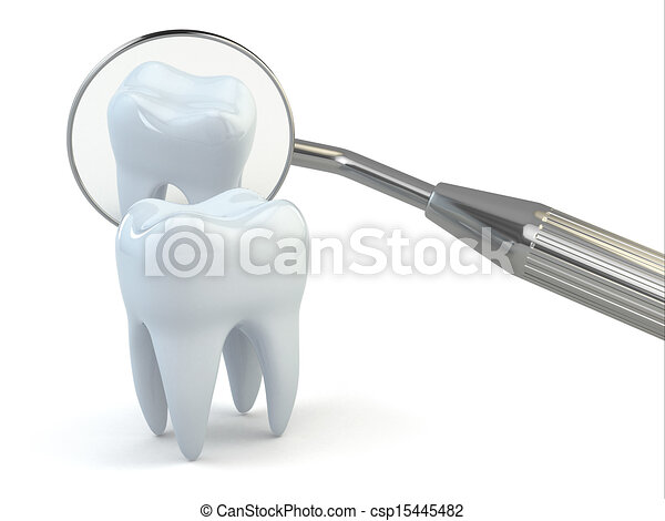 Tooth and dental equipment on white background. - csp15445482