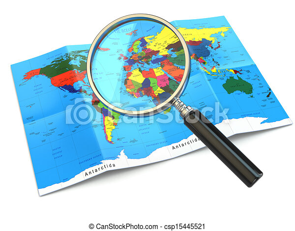 Clip Art of Find locations. Loupe and mapof the world. 3d ...