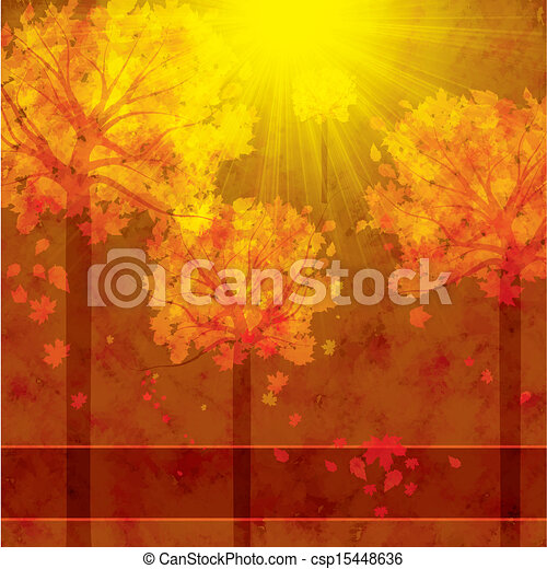 Autumn background with trees and falling leaves  - csp15448636