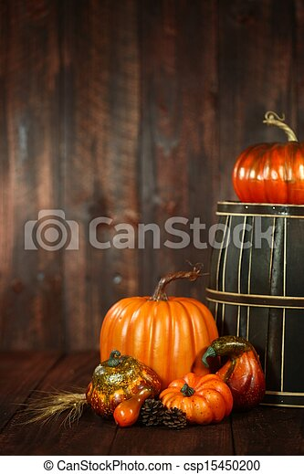 Fall Themed Scene With Pumpkins on Wood  - csp15450200