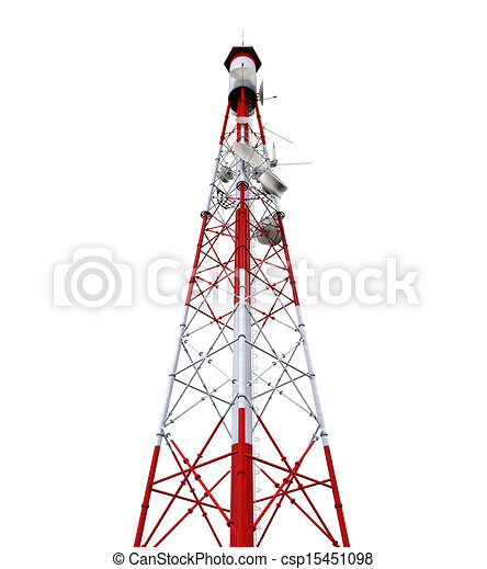 Stock Illustration of Communication Tower with Antennas ...