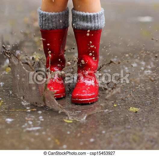 身に着けていること, 水たまり, 雨, 跳躍, ブーツ, 子供, 赤 - csp15453927