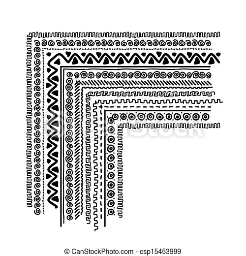 Design elements with ethnic handmade ornament - csp15453999