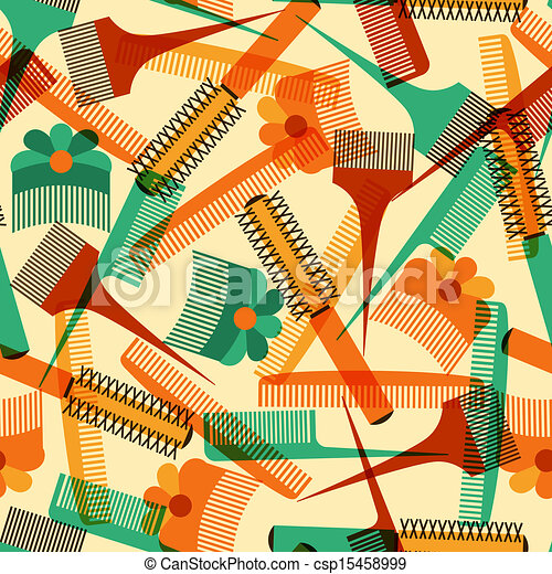 Hairdressing tools seamless pattern in retro style. - csp15458999