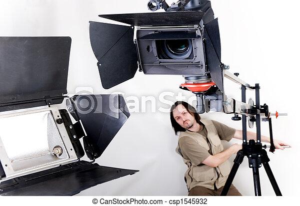 hd camcorder on crane - csp1545932