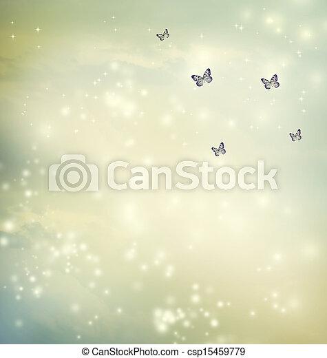 Butterflies in a fantasy sky - csp15459779