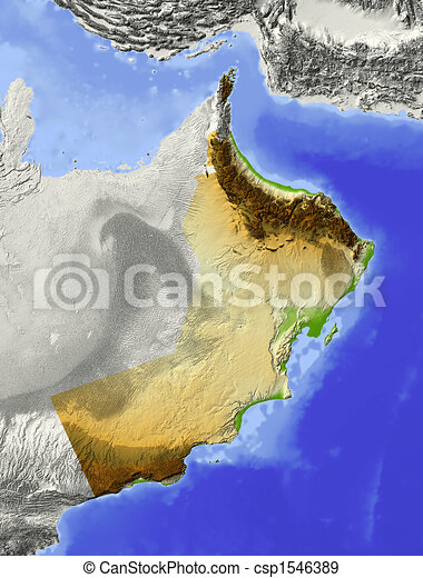 Oman, shaded relief map - csp1546389