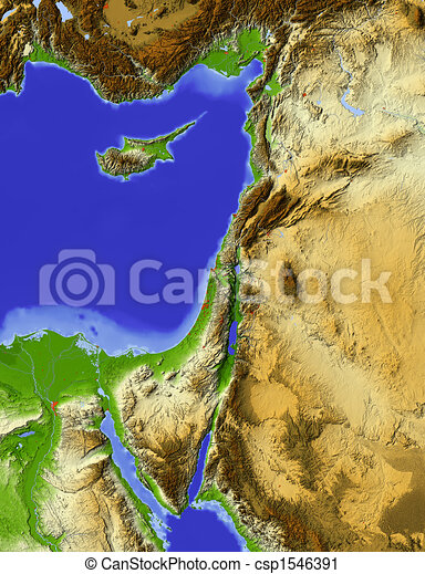 Palestine, shaded relief map - csp1546391