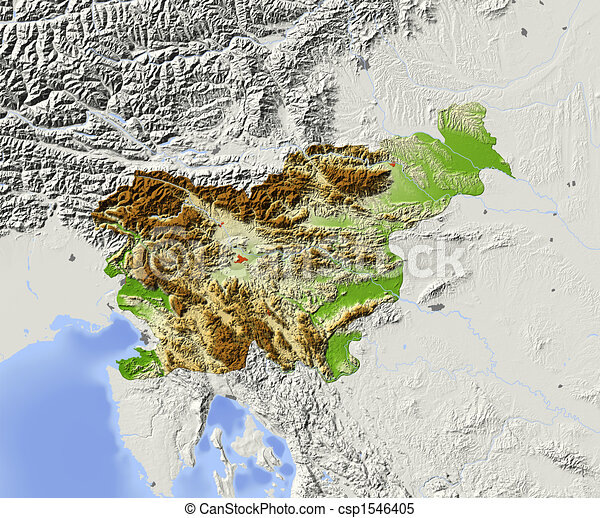 Illustrations of slovenia shaded relief map slovenia shaded relief