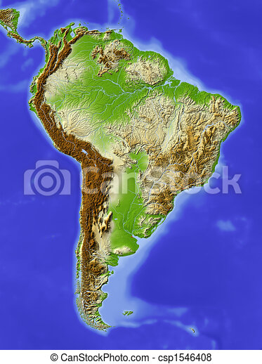 South America, shaded relief map - csp1546408