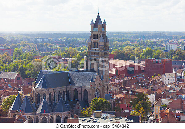 Top view to Bruges and the cathedral St. Sauveur, the oldest brick church of Belgium - csp15464342