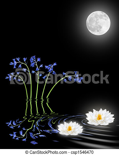 Stock Illustration Of Bluebell Lotus Lily Flowers Zen