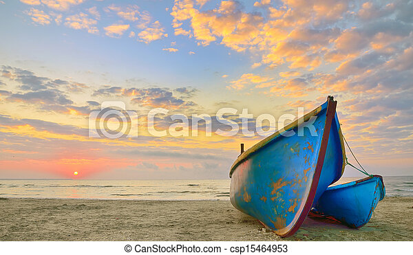 Boats at sunrise time - csp15464953
