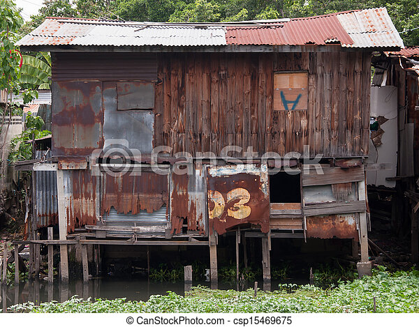 Picture of Old wooden house wall and decay zinc window