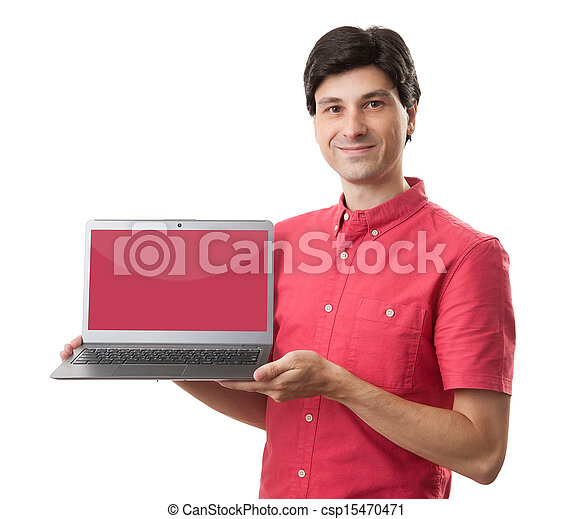 casual man presenting a laptop with a red empty screen - csp15470471
