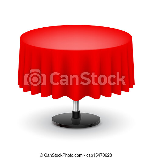 Vector Illustration of Round table with red cloth Classic round