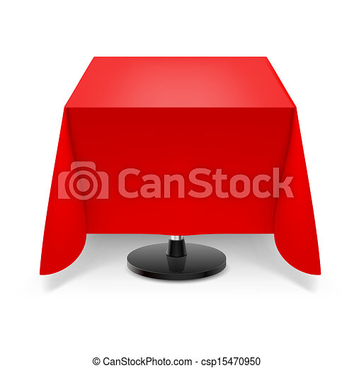 Clipart Vector Of Square Table With Red Tablecloth