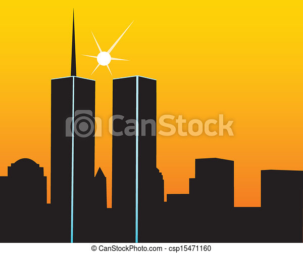 twin towers on a yellow orange background csp15471160 - Search Clipart ...