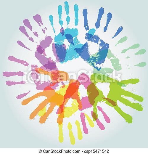 colorful handprint, vector - csp15471542
