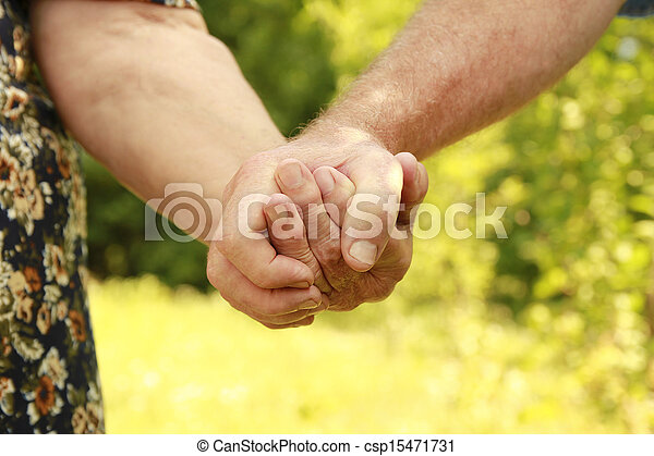 two hands of an elderly couple - csp15471731