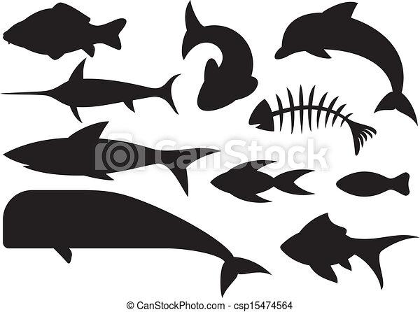 Fish Bones Drawing Vector Fish Icons Set