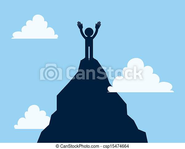 Clip Art Vector of Mountain Top Figure - Figure standing ...