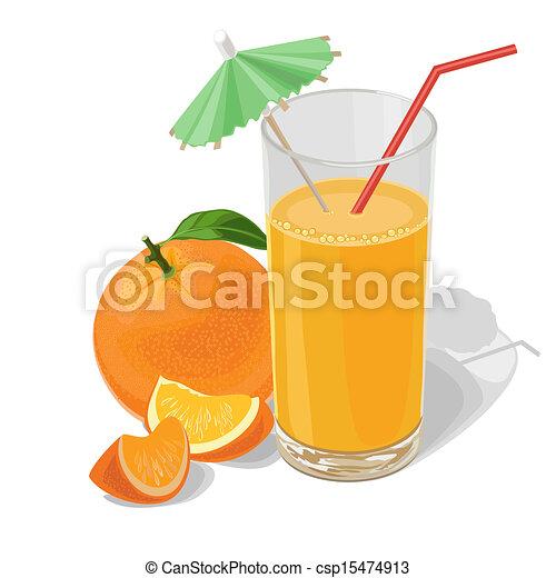 Orange Juice Glass Clipart Glass of Orange Juice on a