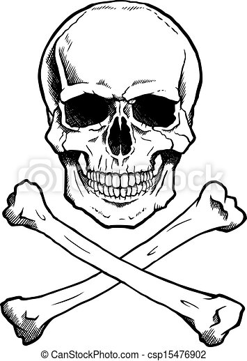Vector Clipart of Black/white human skull and crossbones - Black ...