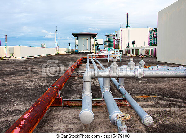 industrial pipes at plumbing on the building - csp15479100