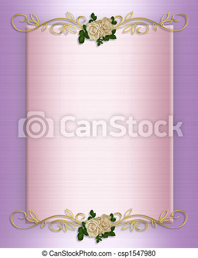 Wedding invitation Pink Satin and roses - csp1547980