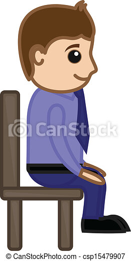 Cartoon Businessman Sitting on Chair in Office Vector IllustrationPerson Sitting On Chair Clipart