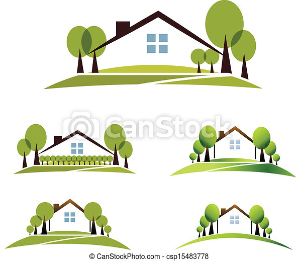 Vectors Illustration of House and garden - Abstract house and trees ...