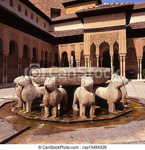 Lions fountain, Alhambra Palace.