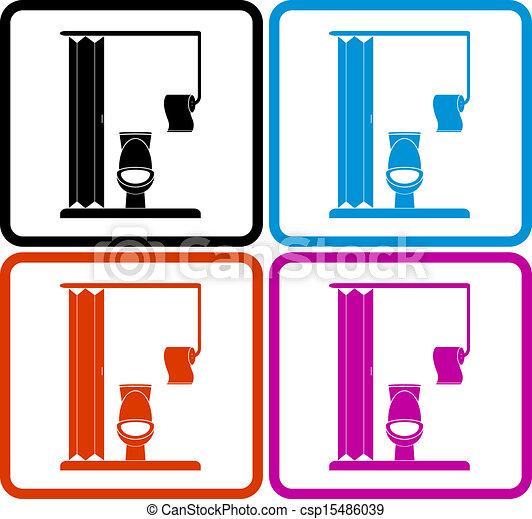 Dessins De Toilette Toilettes Papier Ensemble Color