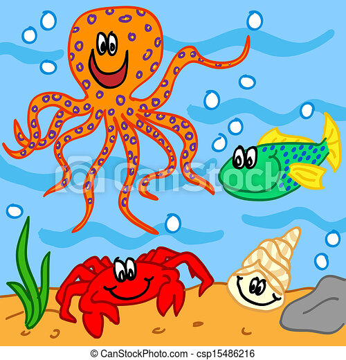 Vector Clip Art of Marine life cartoon characters - Fun ...