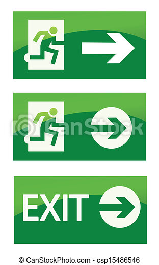 Green exit emergency sign - csp15486546