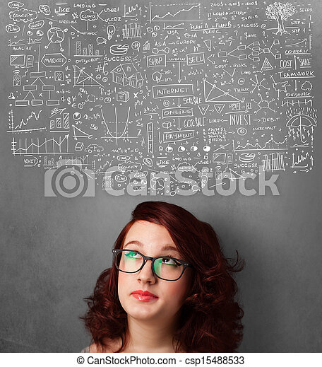 Young woman gesturing with sketched charts above her head - csp15488533
