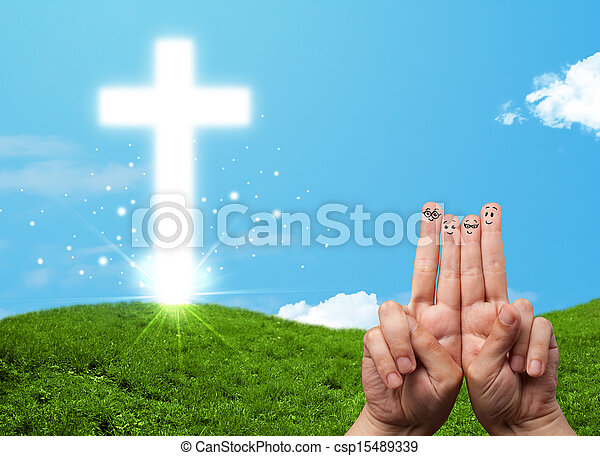Happy finger smileys with christian religion cross - csp15489339