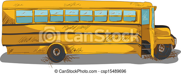 School Bus Drawings Isolated Back to School Bus